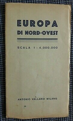 Cartina Geografica Europa Ovest.Carta Geografica Europa Di Nord Ovest Vallardi 1940 Ebay