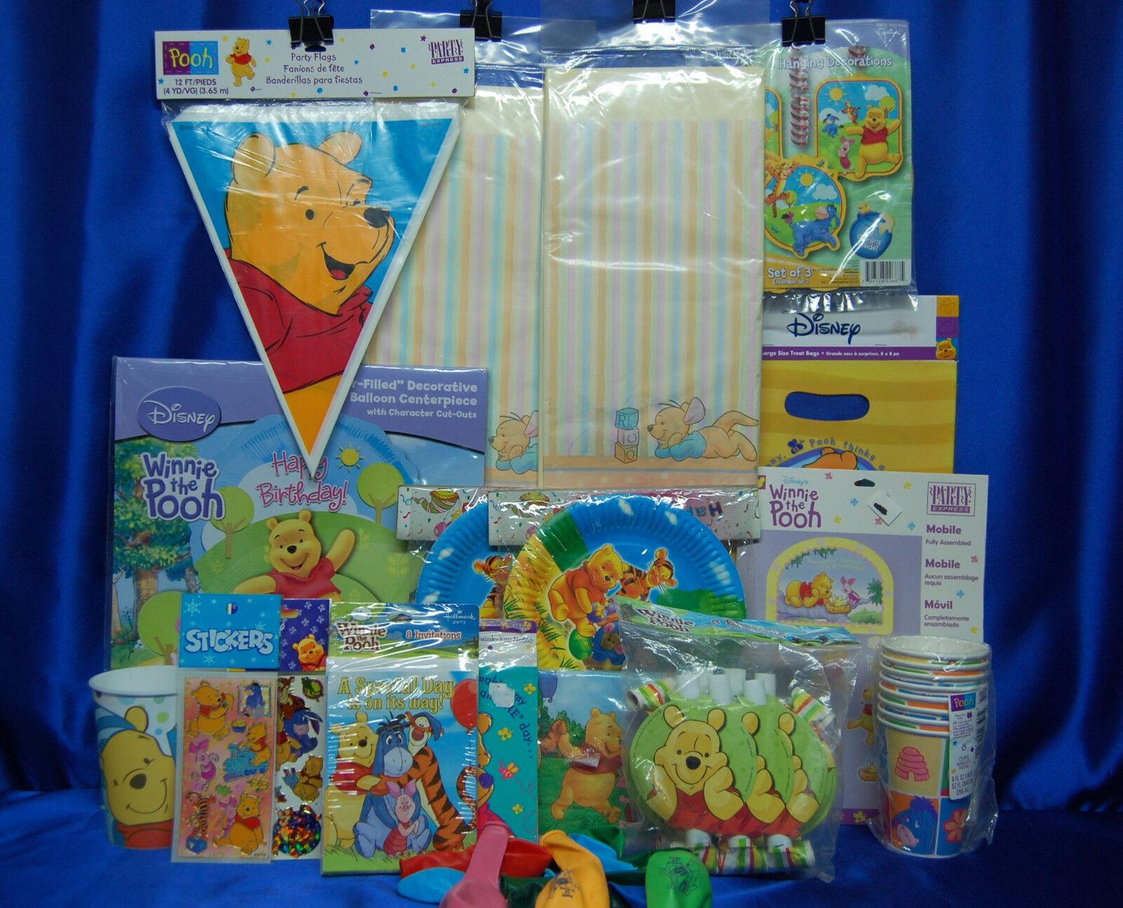 Winnie l'Ourson Fête Set   20 Tasses Assiettes Serviettes Tablecover invite ballons + +