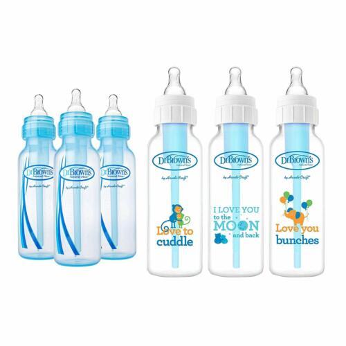 Dr 8 oz Browns Baby Bottles Boys 6 Pack 8 oz 3 Blue and 3 Clear Bottles