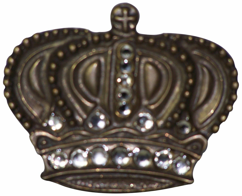 FRONHOFER Large brass crown buckle with rhinestones, brass buckle, 1.5