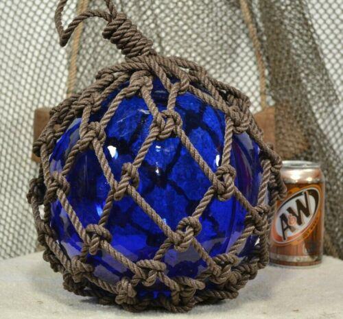 VINTAGE GLASS FISHING FLOAT IN COBALT BLUE