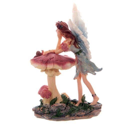 CrystalGeode Sweet Flower Fairy Leaning on Toadstool