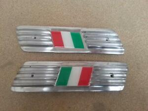 LAMBRETTA SIDE PANEL POLISHED ALLOY GRILL PAIR ITALIA FLAG NEW GRILLE ITALY