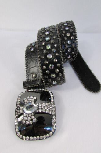 Women Black Brown Genuine Leather Western Fashion Belt Metal Cross Buckle S M L