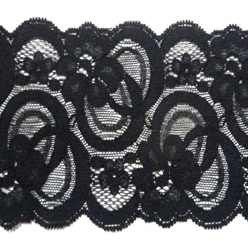 Black Scollop Fleur Stretch Dentelle 3-1//2 pouces//8.89 cm Largeur L49