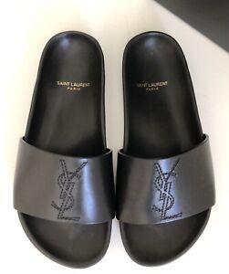 785a9448aa1 Saint Laurent YSL Black Leather Jimmy Joan YSL Slide Sandal Flat ...
