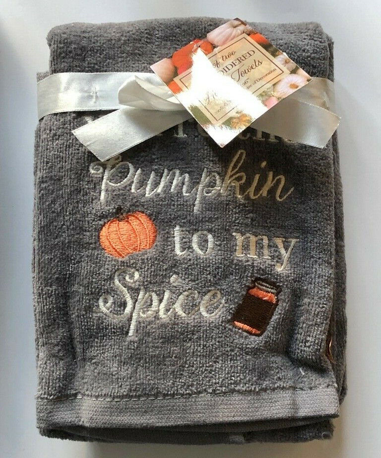 You're the Pumpkin To My Spice Hand Towels Embroidered Bathroom Set of 2 Gray