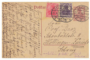 Deutsches-Reich-Ganzsache-P-116-ZuF-Leipzig-nach-Zuerich-Schweiz-27-06-1920