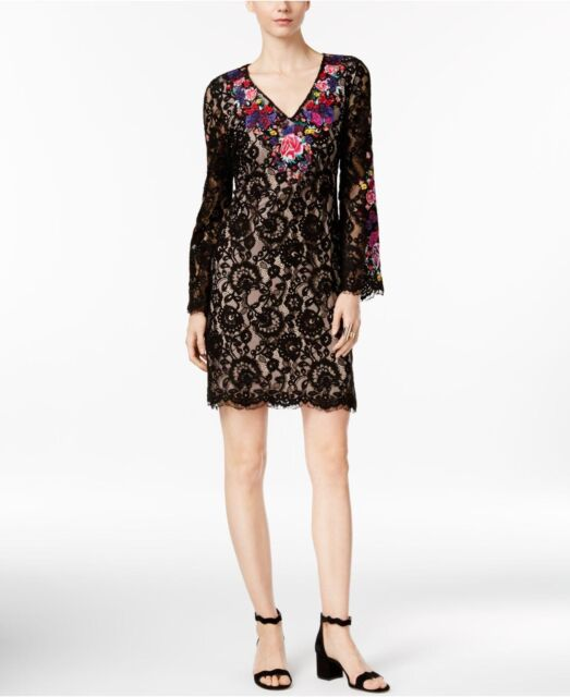 6e177a5c99f817 NEW(JN8332-38) INC Embroidered Lace Sheath Dress Embellished Butterfly Sz 2  $150