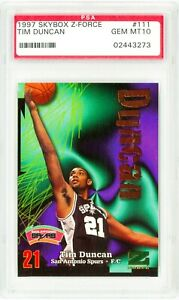 1997-SKYBOX-Z-Force-111-TIM-DUNCAN-Rookie-Card-RC-Perfect-PSA-10-Basketball