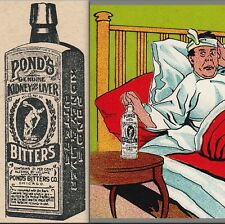 Ponds Ginger Brandy Bitters Headache Cure Hangover Bottle Advertising Trade Card
