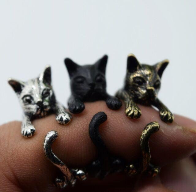 Super Cute Cat Kitty Animal Pet Ring Retro Vintage Wrap Adjustable,Free Shipping
