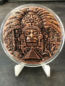 Maya-Kalender-Grose-220-Gramm-999-Antique-Kupfer-Medaille-Kupferbarren-3D-Effekt