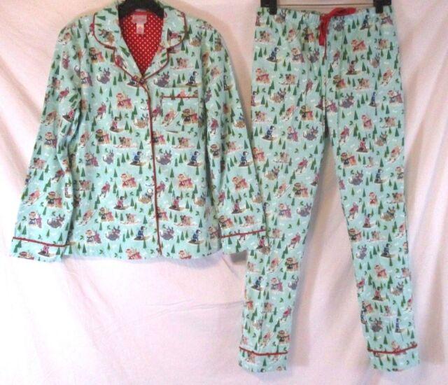 03548aeaa76f Wondershop Women Flannel Pajama Set Green Animal XS Winter Sleepwear CB72L  NWT