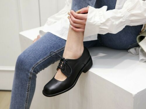 Details about  /Womens Fashion Classic Leather Round Toe Cutout Lace Up Oxford`Court Shoes OQKQ