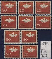 BUND Nr. 452** 10 Stück postfrisch-berührt Rechnungshof Preussischer Adler 1964
