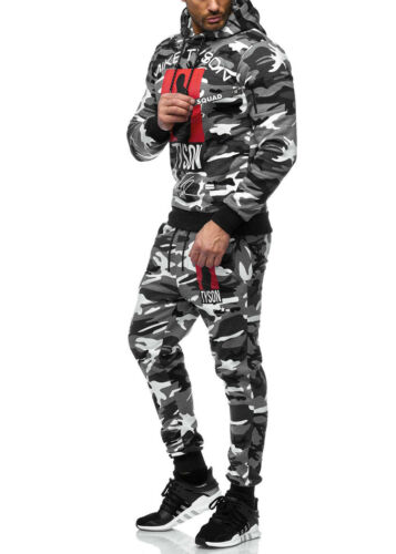 Survêtement Homme Boxe Camouflage Veste et Pantalon de Fitness Rue