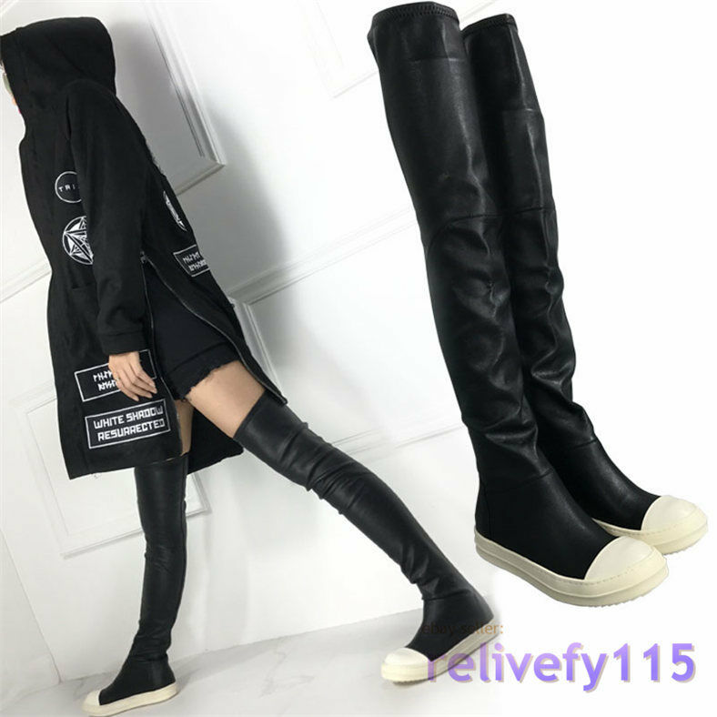 UK 2.5 3 4 5 6 femmes  Punk Thigh High Bottes Fashion Sneakers Over Knee Trainers