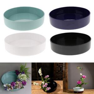 Blesiya-Round-Suiban-Vase-Pot-Tray-Container-for-Ikebana-Flower-Arrangements