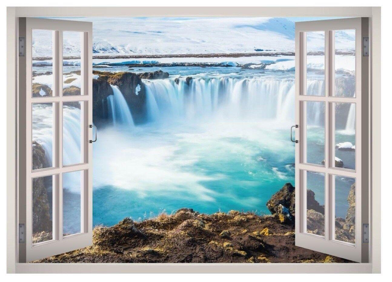 Cascade View Window 3D Wand Decal Kunst Mural Home Decor Canvas Vinyl W148