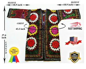 Embroidery-Multicolor-Vintage-Uzbek-Suzani-Robe-Dress-Best-Gift-SALE-WAS-150-00