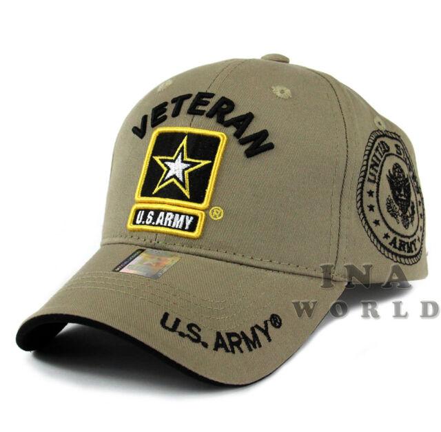 4ad2a3580 US ARMY hat cap Military VETERAN ARMY STRONG Licensed Baseball cap-Khaki  Beige