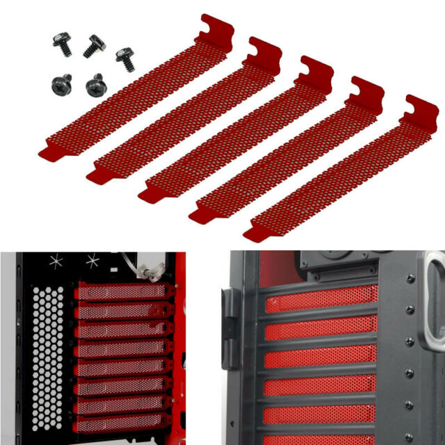 7x PCI Slot Cover Dust Filter Blanking Plate Hard Steel Red w/screws