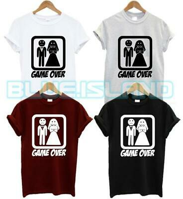 Game Over Funny Wedding Slogan Gift Bride Groom Couple Womens Ladies T shirt