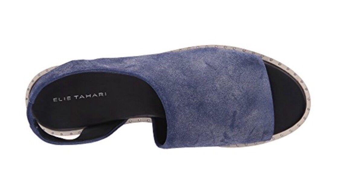 ELIE TAHARI  Damenschuhe Nora-Blau-Wash Suede Leder Flat Sandales Sz. 9M  TAHARI 56ea75