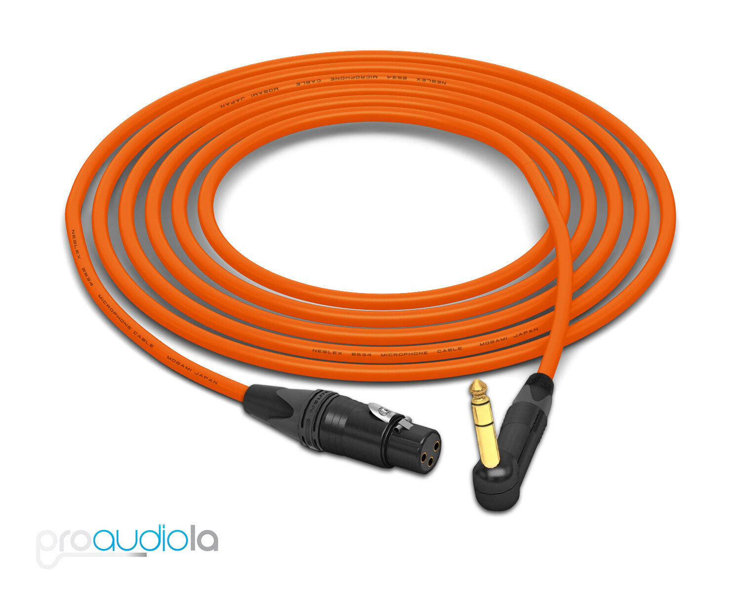 Mogami 2534 Quad Cable   Neutrik Gold 90º TRS to XLR-Female   Orange 30 Feet 30'