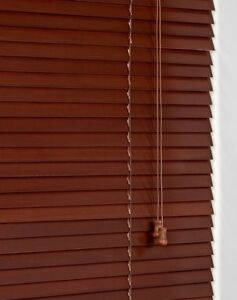 Sunflex-25mm-Slat-Real-Wood-Venetian-blind-60cm-wide-x-160cm-ACACIA-Stain-Finish
