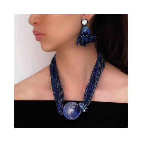 Nataliya Blue Silk Pearl Bead Chunky Choker Statement Necklace