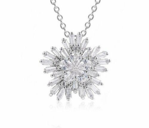 Clear Cubic Zirconia Snowflower Snowflake Pendant Charm Necklace Jewelry