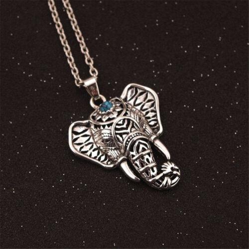 Women Hot Fashion Charm Vintage Silver Elephant Choker Pendant Chain Necklace ES