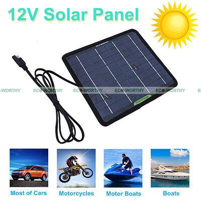 12V 5W Portable Solar Panel 5Watt Battery Charger Backup for Car RV Boat Camping