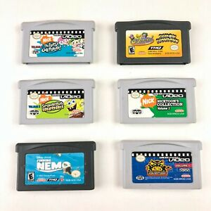 Gameboy-Advance-Games-Lot-of-6-Disney-Nickelodeon-Spongebob-Oddparents-KND-Nemo