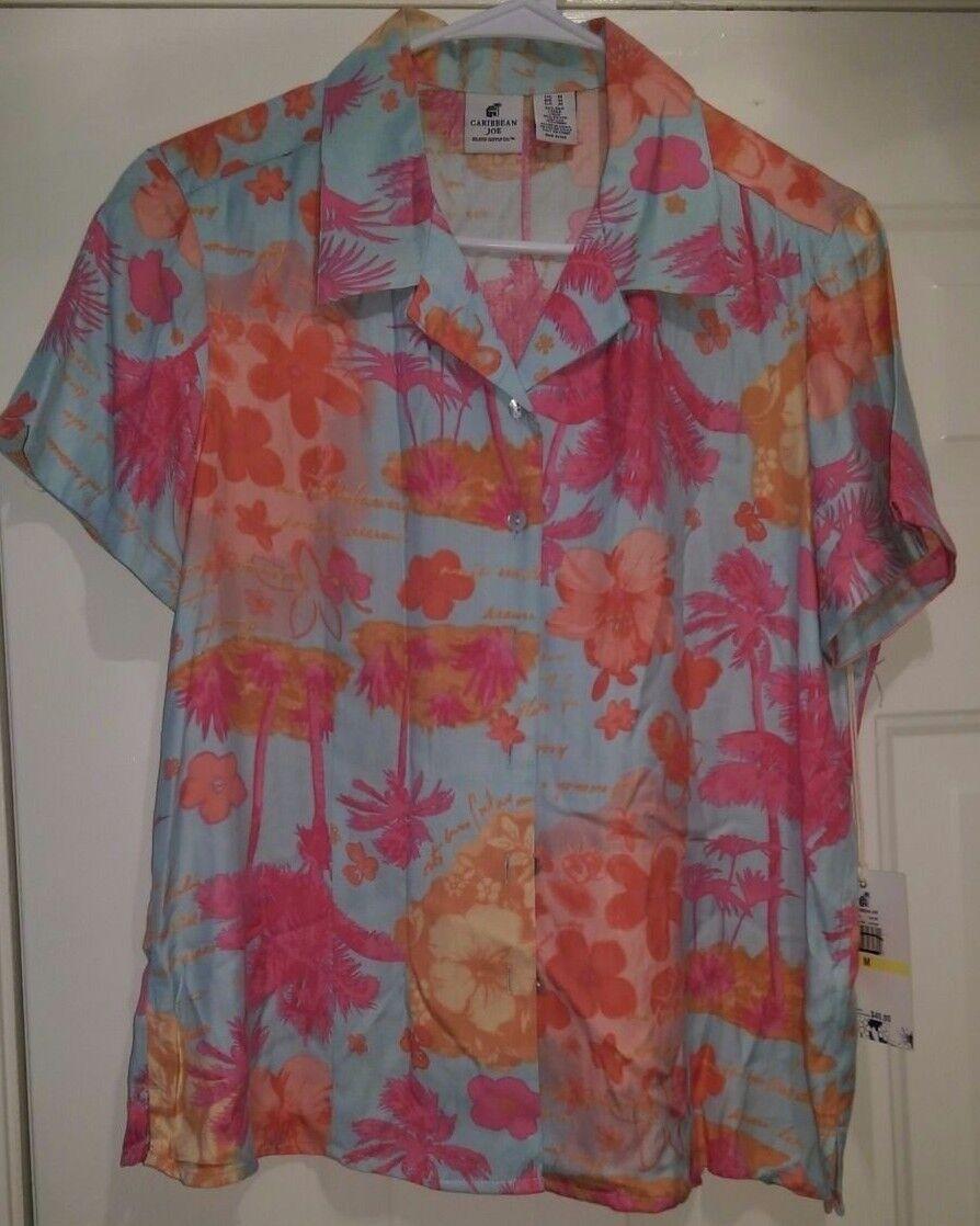 Caribbean Joe NWT damen 55% Silk Multi Farbe Floral Button Down Shirt Top Sz M