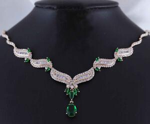 18k-18ct-Rose-Gold-GF-Crystal-Teardrop-Green-Emerald-Diamond-Necklace