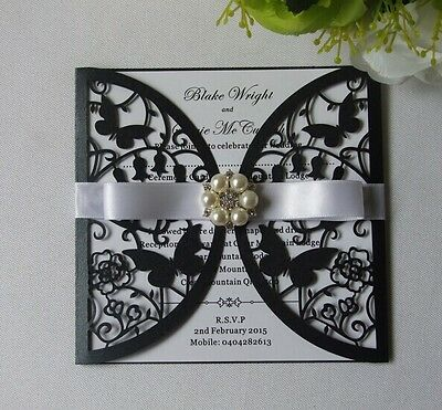 Laser cut Black Butterfly Wedding Invitation cards+Inner sheet+Envelopes+Ribbon