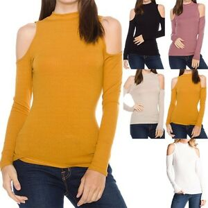 e61f8dc9eeaa5 Ribbed Mock Neck Long Sleeve Cold Shoulder Top Casual Rayon Spandex ...