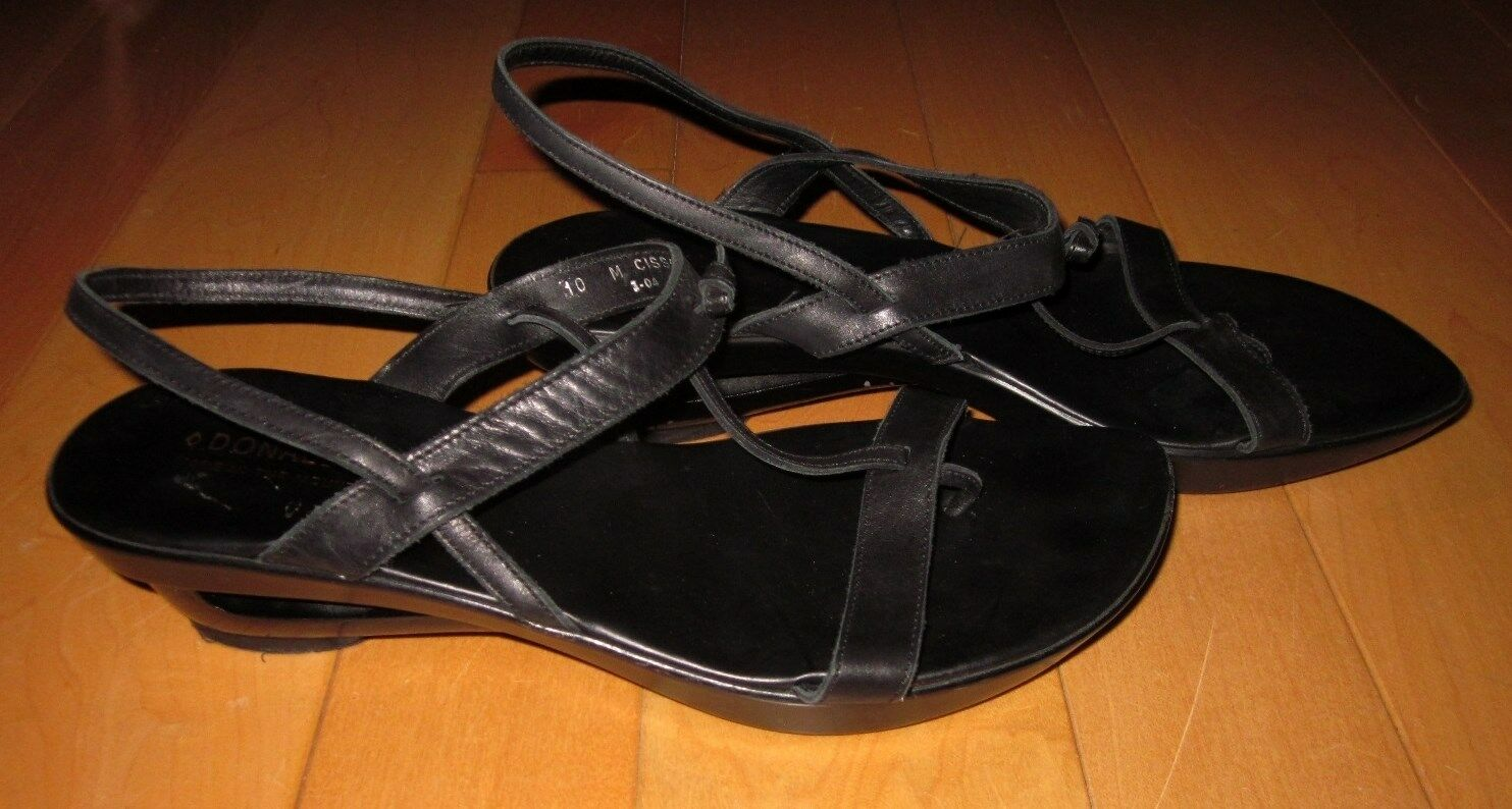 Donald J Pliner Bk Leather Strappy Wedge Thong Sandals Cisso 10 Made Italy