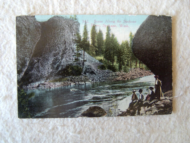 Scene Along the Spokane River, Spokane, Washington. - EARLY 1900'S POST CARD