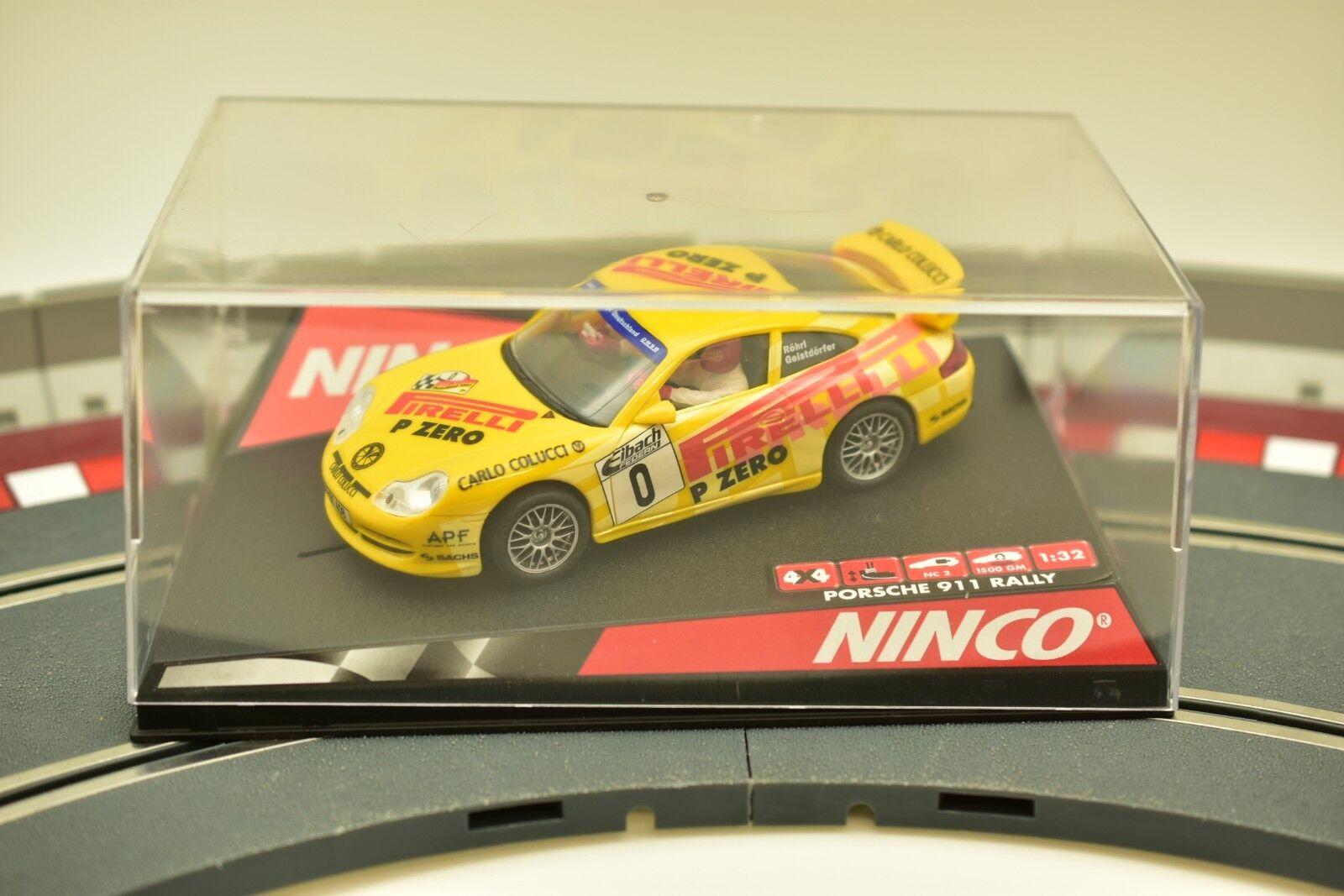 "NINCO 1//32 SLOT CARS 50256 PORSCHE 911 GERMAN RALLY /""PIRELLI/""  YELLOW # 0"