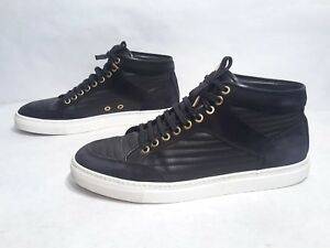 EUC Etq Amsterdam Black Leather   Suede Midtop Athletic Shoes Size ... 2b3a8f9b6