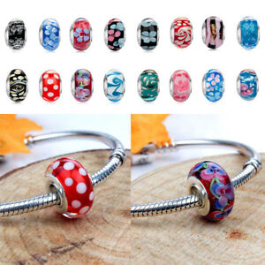 NEW-Design-Silver-Plated-Murano-Glass-Beads-Charm-Fit-European-Chain-Bracelet