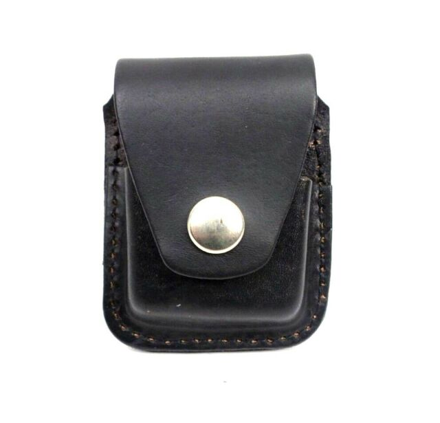 Zippo Lighter Pouch Case Black Leather With Belt Loop Made in USA New