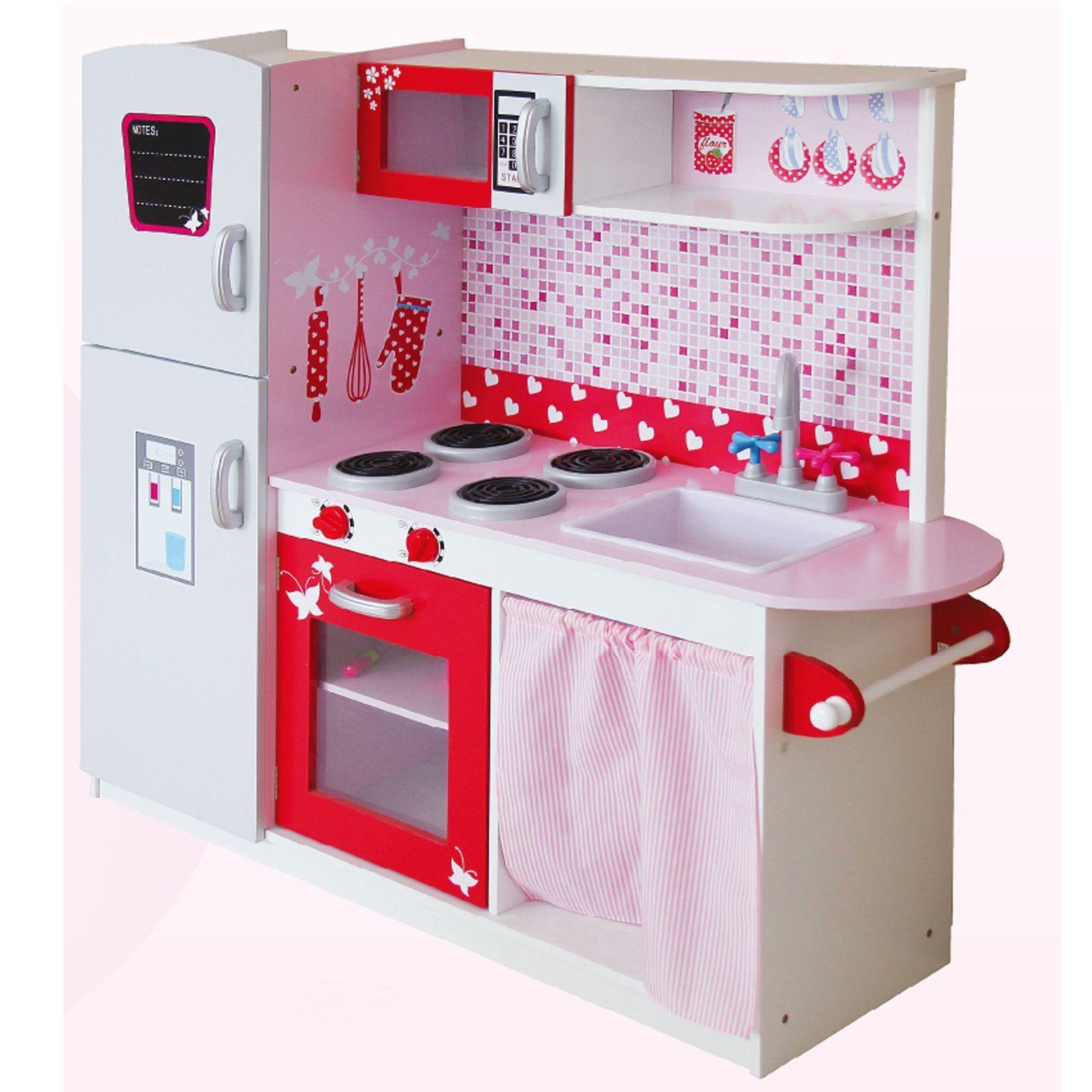Enfants Grand en Bois Cuisine avec Réfrigérateur par Leomark - Rose - Neuf MDF