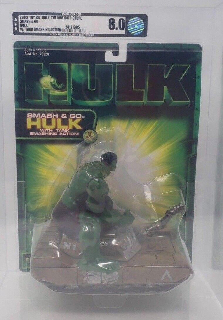2003 Hulk Movie action figure Autorité classé 8.0 Smash & Go avec réservoir Smashing Action TOY BIZ Comme neuf on Card