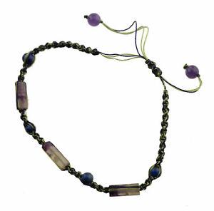 Bracelet Macrame Lapis Lazuli And Amethyst IN Stone Creation Hand Made 21276