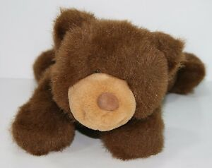 "Gund Laying Brown Beary Fluffy Plush Stuffed Animal 15"" Lovey"